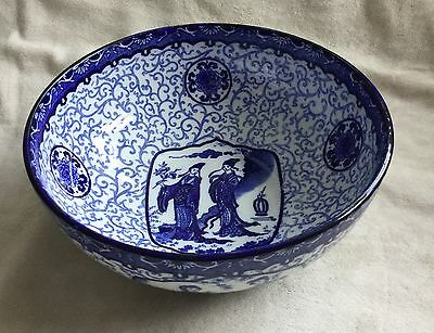 """Hancock & Sons Corona Ware Blue & White Ch'ien Lung Reproduction 8"""" Bowl"""