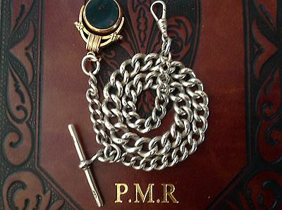 antique solid silver albert chain and spinning fob 1897 excellent condition