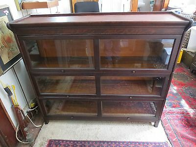 ANTIQUE Gunn Furniture Doublewide (rare!!)Barrister Bookcase 3 sections COMPLETE