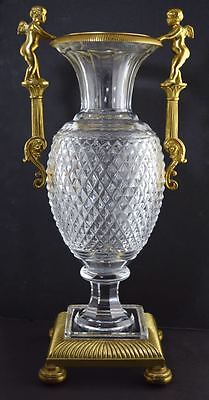 """Vintage 13"""" FRENCH CUT GLASS & BRONZE MOUNTED VASE/URN CHERUBS NEO-CLASSICAL"""
