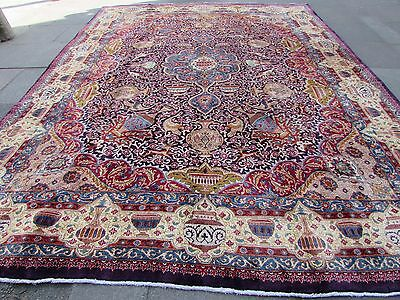 Old Hand Made Traditional Persian Oriental Wool Blue Carpet 390x293cm
