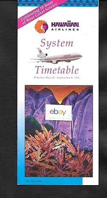Hawaiian Airlines 5-12-1995 System Timetable Dc-10- Island Shuttle Ad-Koolaus