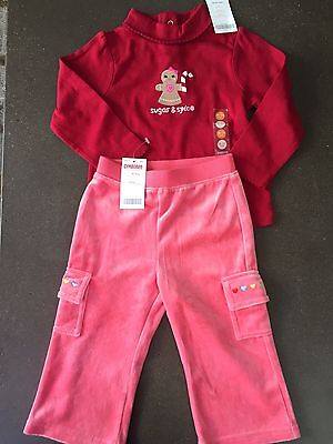 Girls Gymboree 18-24 Months Sugar & Spice Outfit NEW NWT Velour Pants Christmas