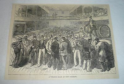 1880 magazine engraving ~ A TOBACCO SALE AT NEW ORLEANS