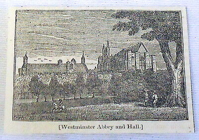 1832 small magazine engraving ~ WESTMINSTER ABBEY AND HALL with landscape