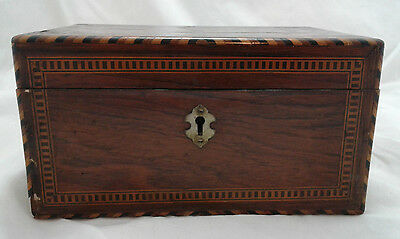Antique Wooden Inlaid Jewelry Trinket Box Locking 19C Victorian MIrror Old VTG