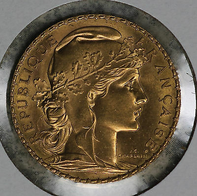 Beautiful Uncirculated 1911 French Rooster 20 Gold Franc!!