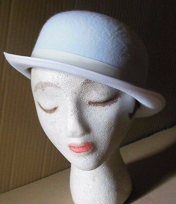 "NEW Lot of 12 White Felt Derby hats Dance Tap Adult size 22.25"" & 23"" Theatrical"