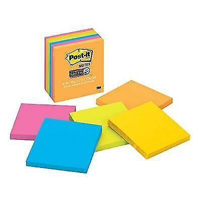 Post-it Super Sticky Notes, 3 in x 3 in, Rio de Janeiro Collection, 6 Pads/Pack