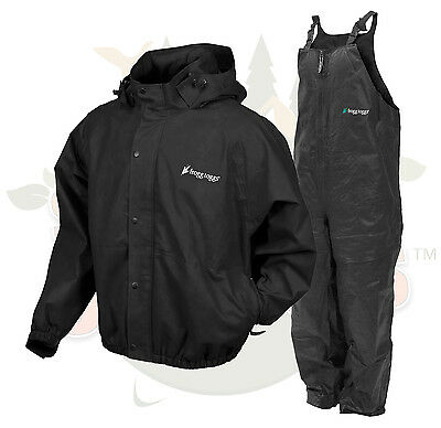 NEW 2XL XX Frog Togs Frogg Toggs Black Pro Advantage Rain Suit Jacket and Bibs