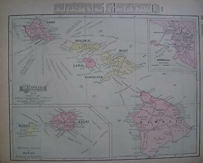 1908 Hawaii Dated Color Atlas Map*   ...Hawaiian Islands  .... 109 years-old!