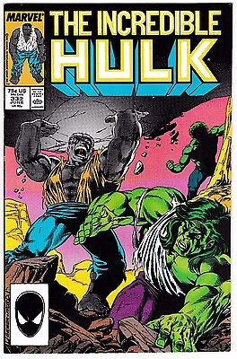 INCREDIBLE HULK #332 (NM-) GREY HULK & THE LEADER vs THE GREEN HULK! 1987 Marvel