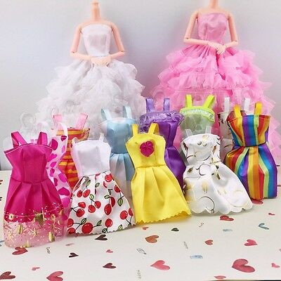 10Pcs Fashion Handmade Dolls Clothes Wedding Party Dresses for Doll Random Style