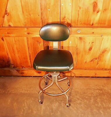 Vintage Royal Metal Micro Adjust Drafting Lab Stool Industrial Machine Age Chair