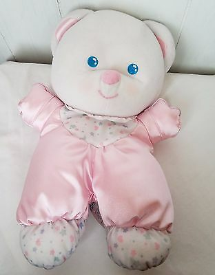 "12"" Fisher Price 1992 Satin Bear 1389 Pink White Stars Baby Lovey Plush Toy vtg"