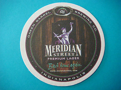 Beer Coaster ~ OAKEN BARREL Brewing Co Meridian Street Lager ~ Indianapolis, IN