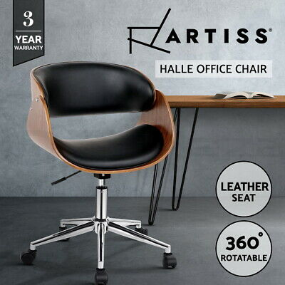 Executive Wooden Office Chair Leather Padded Computer Home Work Seat Premium 678
