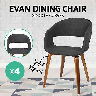 4x EVAN Dining Chair Bentwood Wooden Timber Kitchen Home Cafe Fabric Charcoal