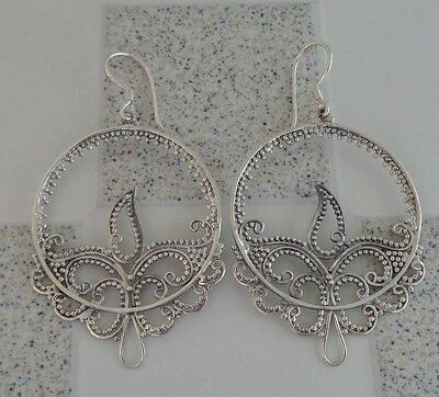 Solid Silver, 925 Bali Handcrafted Earring Filigree Design 37017