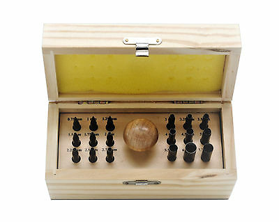 18 Round Bezel Stone Setting Punches in Box with Mushroom Handle Collet. J1452