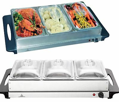 Vinsani Stainless Steel Electric 3 Pan Buffet Food Warmer Dinner Server