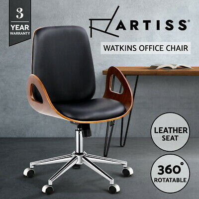 Executive Wooden Office Chair Leather Padded Computer Home Work Seat Premium 631