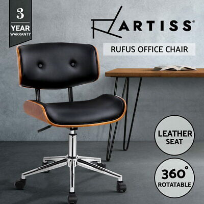 Artiss Executive Wooden Office Chair Leather Computer Chairs Bentwood Seat Black