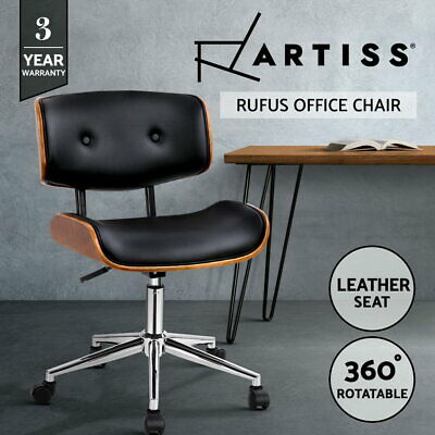 Executive Wooden Office Chair Leather Padded Computer Home Work Seat Premium 435