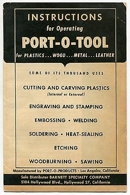 """1947 Owners Manual: """"Port-O-Tool"""" For Plastics, Wood, Metal, Leather"""