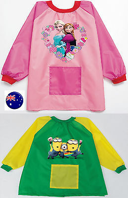 Kid Boy Girl Water resist Minions Or Frozen school Apron Art Paint Smock Shirt