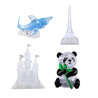 3D Crystal Puzzles DIY Jigsaw Model IQ Toys Gifts Flash Furnish Gadget Decor