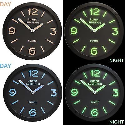 "12"" Glow In The Dark Wall Clock Round Hanging Bedroom Home Office Novelty Quartz"