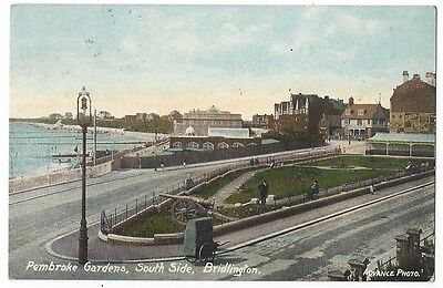 BRIDLINGTON Pembroke Gardens, South Side, Old Postcard Postally Used 1911