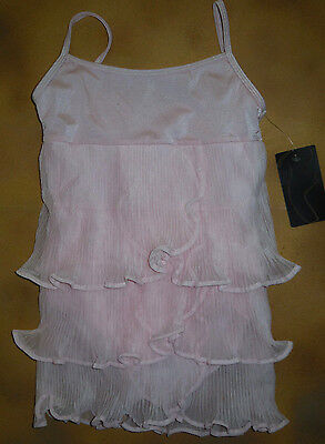 NWT Dance Bloch Candy Pink 3 Tier Pleated Tulle Leotard Dress Girls 4/6 CL4082