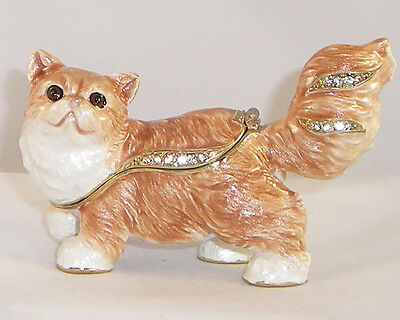 Kingspoint Cleo Persian Cat  Pewter Bejeweled Hinged Trinket / Jewelry  Box