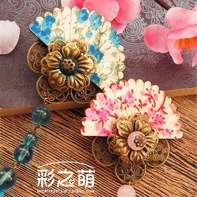 Lolita Girls Vintage Chinese Style Elegant Fan Shape Long Tassel Hair Accessory