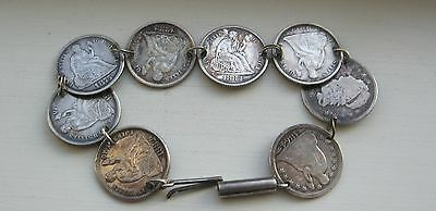 1800's Bust & Seated Liberty Dimes 8 Coin Love Token Bracelet