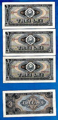 RARE 4 Romanian Notes 3 Consecutive Plus 1 Note  P92a 3 Lei ARMS 1966 AU - UNC