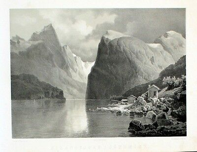 1850 - Norangsfjorden Sunnmore Norway Lithographie
