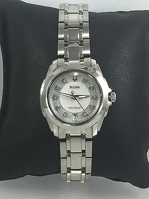 Women's Bulova 96P115 Precisionist Stainless Steel Diamond Accent MOP Dial Watch