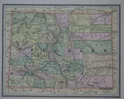 1887 Colorado Antique Color Atlas Map**.. New Mexico map on back ..131 years-old