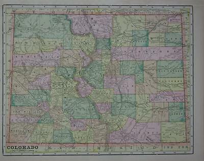1898 Colorado Original Color Atlas Map** Minnesota map back.. 119 years-old!