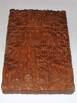 Superb Antique Chinese Export Sandalwood Card Case Finely Carved Figures Village