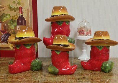 Chili Pepper 4pc Deluxe Canister Set Kitchen Decoration and Food Storage