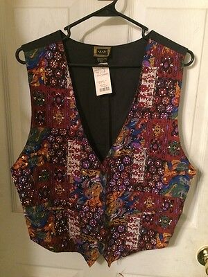 Vintage A.J. Vest Beaded Sequins Ladies Size Medium 100% Cotton - NEW WITH TAGS