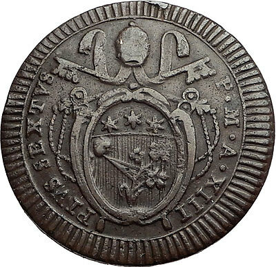 1787AD Papal Vatican Rome POPE PIUS VI  Authentic Antique Christian Coin i60042