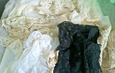 Vintage Lace Crochet for Wedding Crafts Doll Clothes Lot