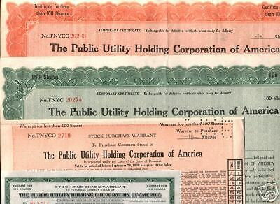 Lot 4 Diff Rare Public Util Holdings Stocks @ 2.49! Responsible For 1929 Crash!!