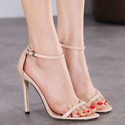 New Summer Womens High Heels Ankle Strap Buckle Sandals Stiletto Partywear Shoes