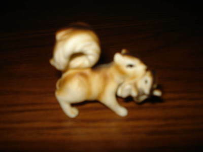 Vintage Miniature Handpainted Porcelain Squirrel With Baby Figurine